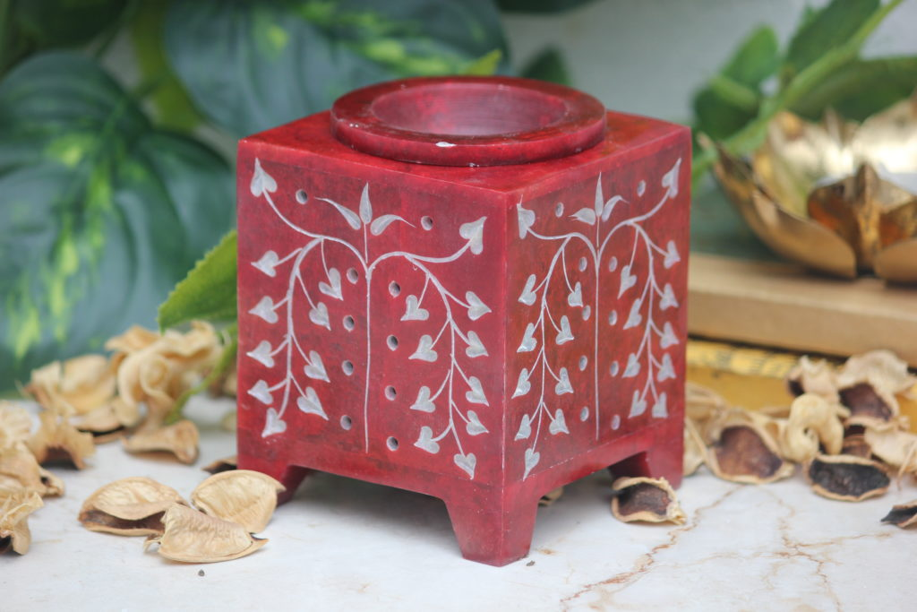 Indian Royal Crafts | Marble | Soapstone Square Red Oil Diffuser