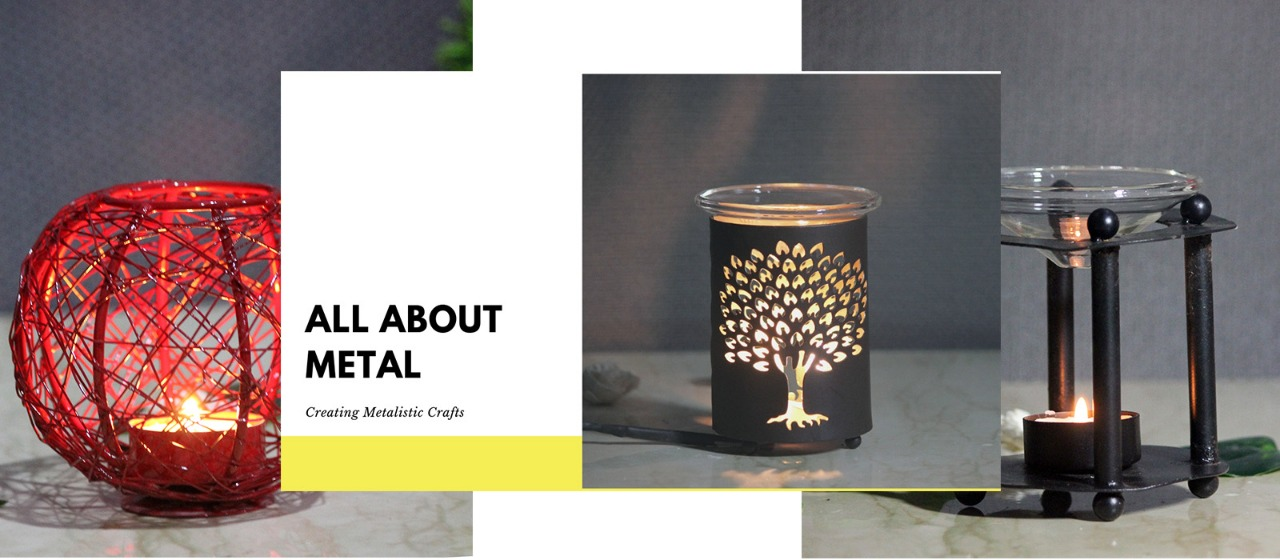 Metal Aroma Oil Diffuser and Candle Holder   Brahmz   Indian Royal Crafts