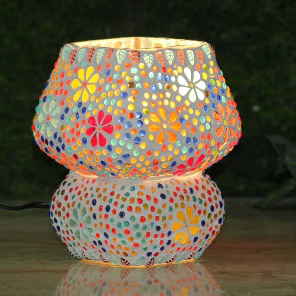 Square Glass Mosaic Table Lamp
