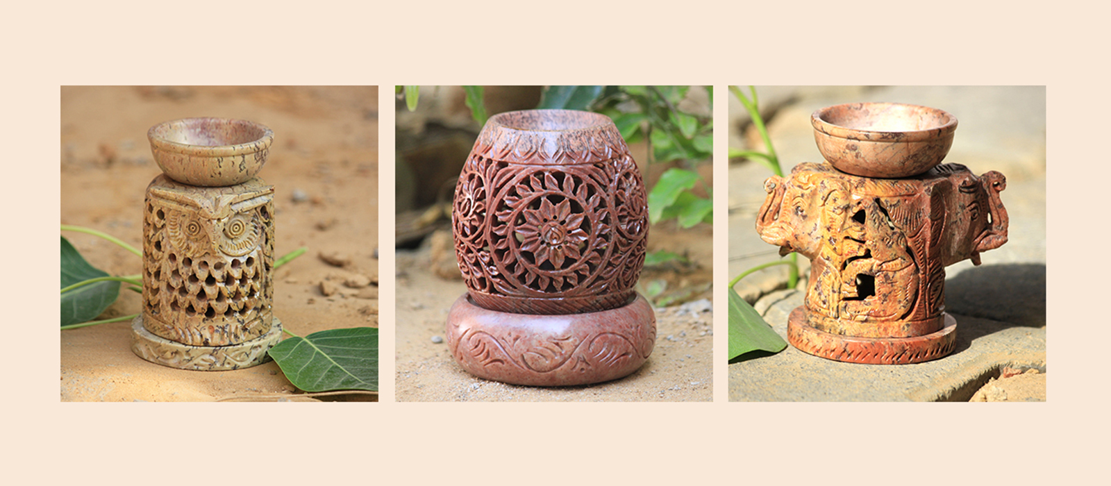 Indian Royal Crafts | Brahmz | Mable Aroma Diffuser | Soapstone Aroma Oil Burner