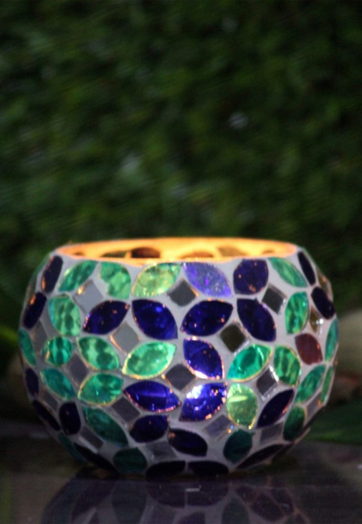 Glass Mosaic Candle Holder-2