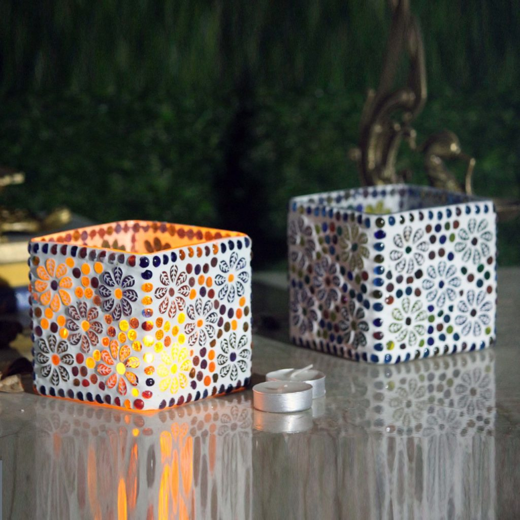 Glass Mosaic Candle Holder-3