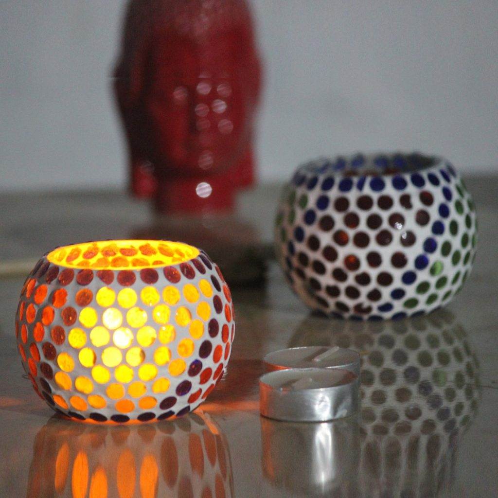 Glass Mosaic Candle Holder-4