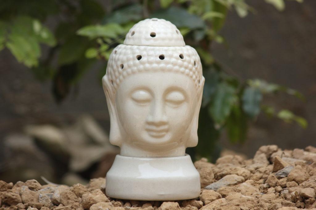 Buddha 7 Inch White Ceramic Aroma Oil DIffusers